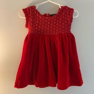 Red Dress for Baby in Velvet and Lace 9-12 Months